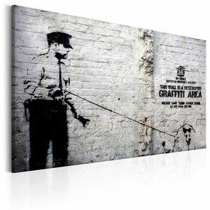 Schilderij - Banksy - Politie agent met hond, Zwart-Wit, 1luik