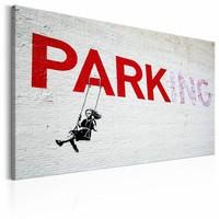 Schilderij - Banksy - Parking, Zwart/Wit/Rood, 1luik