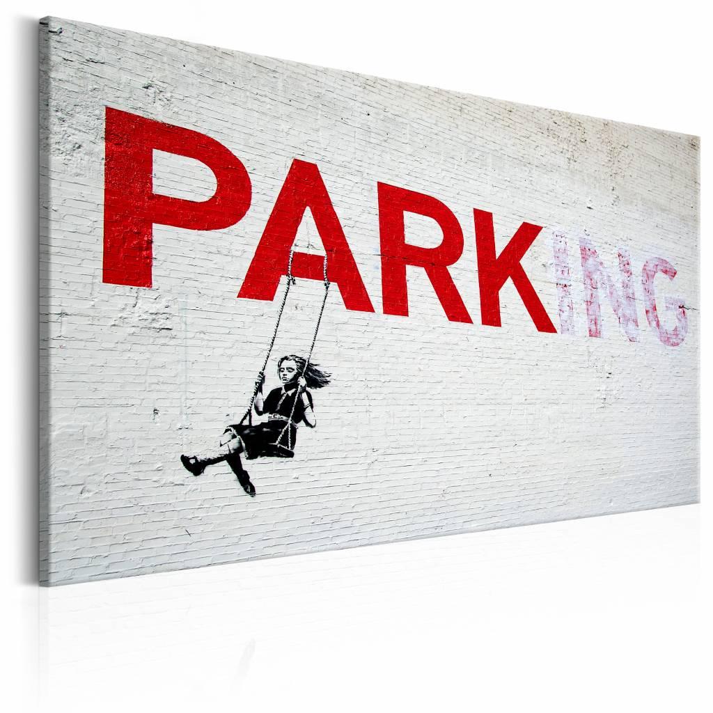 Schilderij - Banksy - Parking , grijs rood , wanddecoratie , premium print op canvas