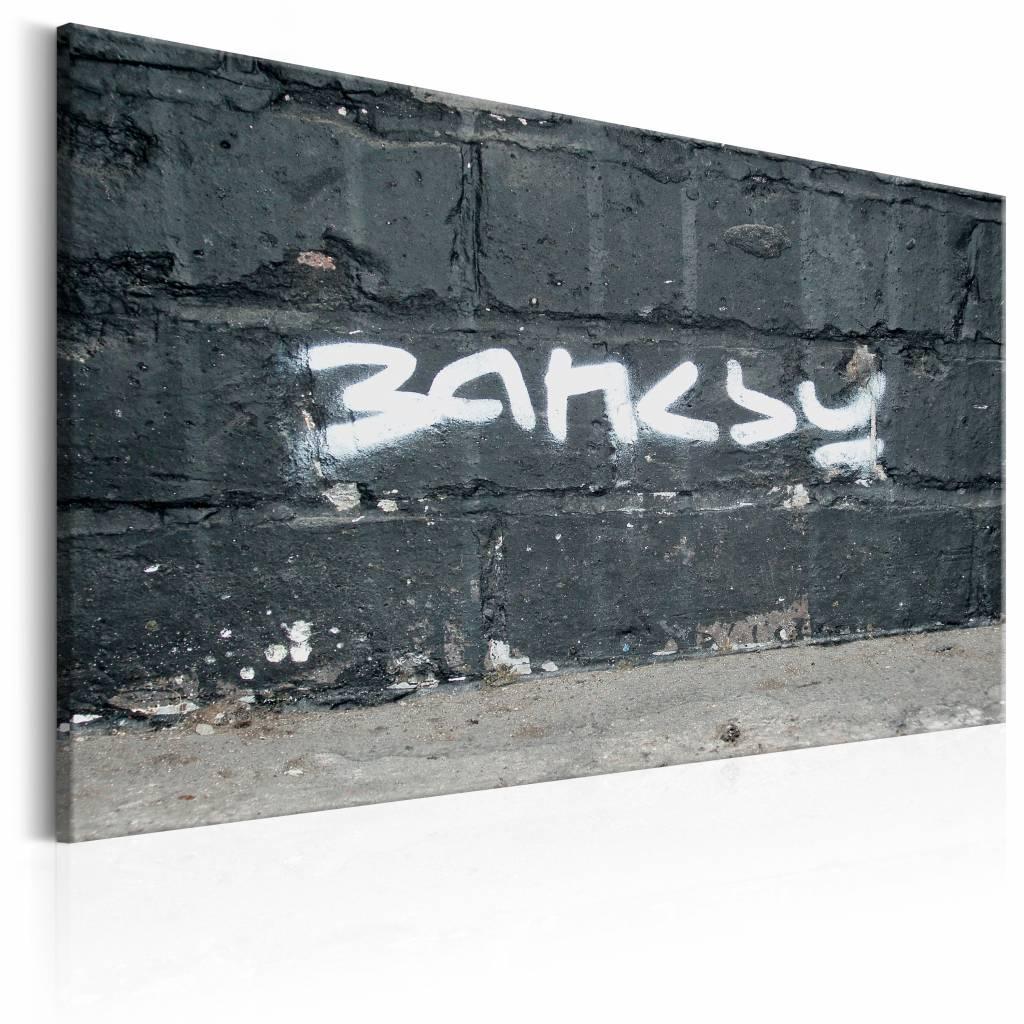 Schilderij - Banksy Handtekening , zwart wit , wanddecoratie , premium print op canvas