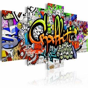 Schilderij - Graffiti Art , multikleur , 5 luik