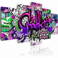 Schilderij - Graffiti , multikleur , 5 luik , 2 maten