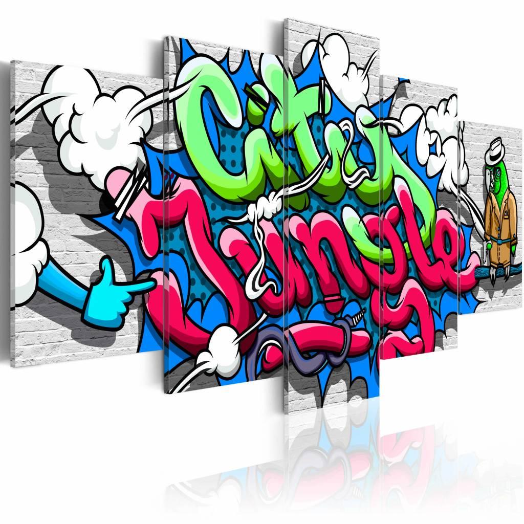 Schilderij - Graffiti: city jungle II , multikleur , 5 luik