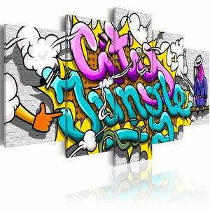 Schilderij - Graffiti: city jungle , multikleur , 5 luik