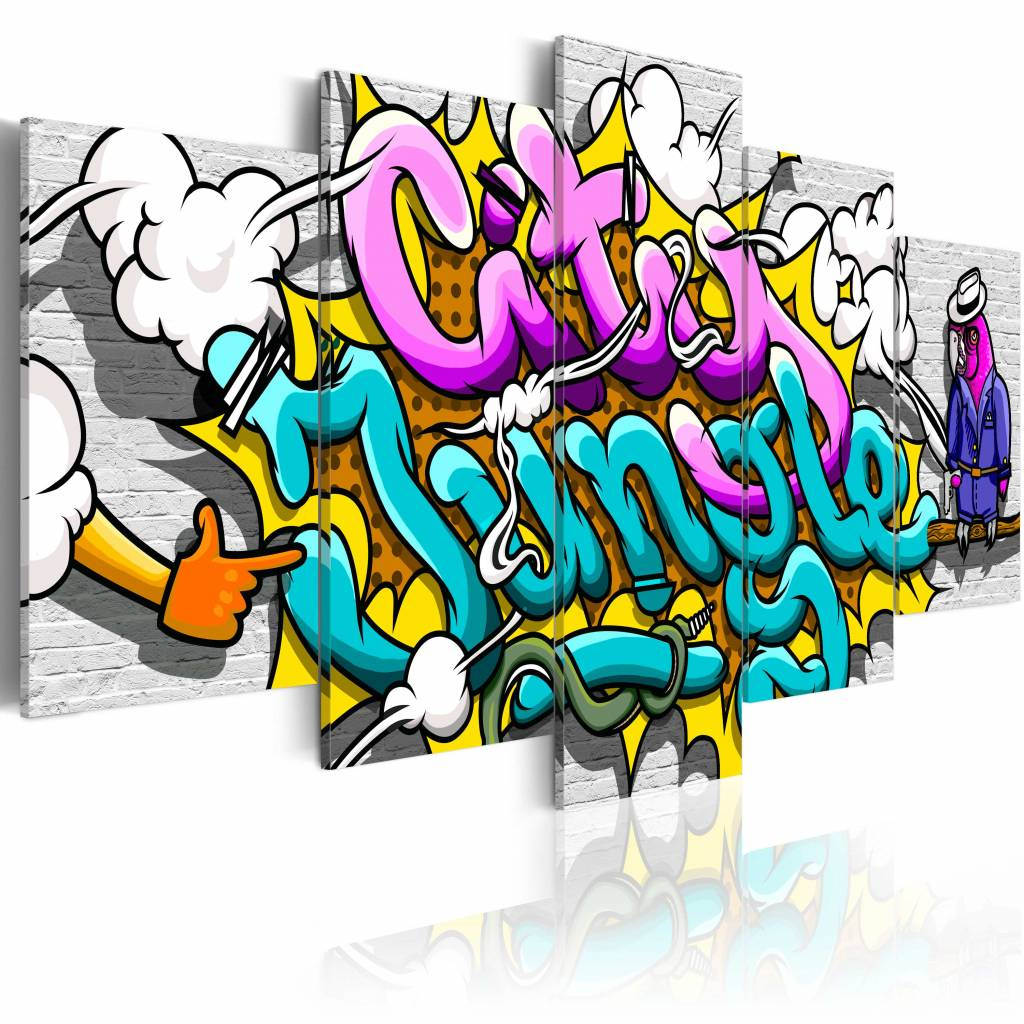 Schilderij - Graffiti: city jungle , multikleur , 5 luik , 2 maten