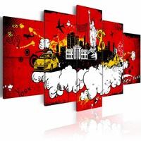 Schilderij - New York: Comic, Rood, 5luik , wanddecoratie , premium print op canvas