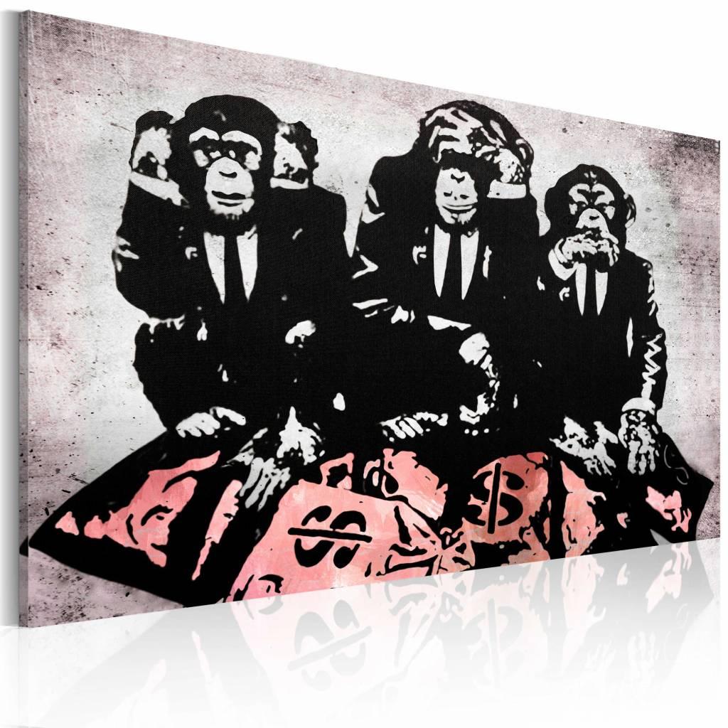 Schilderij - Banksy - Geld is een probleem , zwart wit roze , wanddecoratie , premium print op canva