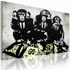 Schilderij - Banksy - Geld is een probleem II  , zwart wit geel , wanddecoratie , premium print op canvas