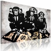 Schilderij - Money problem, zwart/wit/geel, 1deel, 2 maten