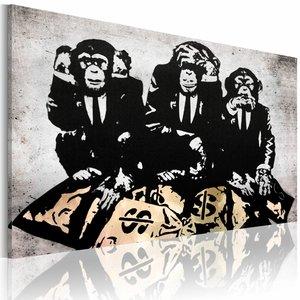 Schilderij - Banksy - Geld is een probleem III, Zwart/Wit/Geel, 1luik