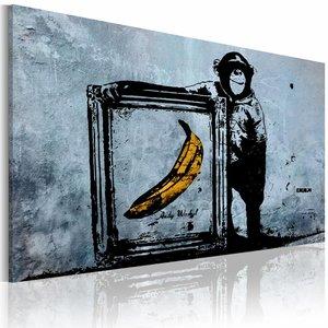 Schilderij - Inspired by Banksy, Blauw/Geel, 1luik