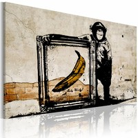 Schilderij - Inspired by Banksy II, Sepia, 1luik