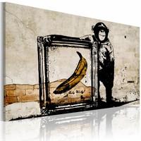 Schilderij - Inspired by Banksy - sepia, 1deel, 2 maten
