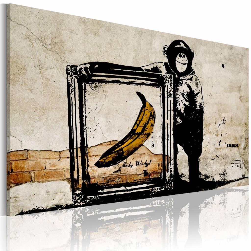 Schilderij - Inspired by Banksy II , wanddecoratie , premium print op canvas