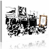 Schilderij - Banksy - Morons, Zwart-Wit , wanddecoratie , premium print op canvas