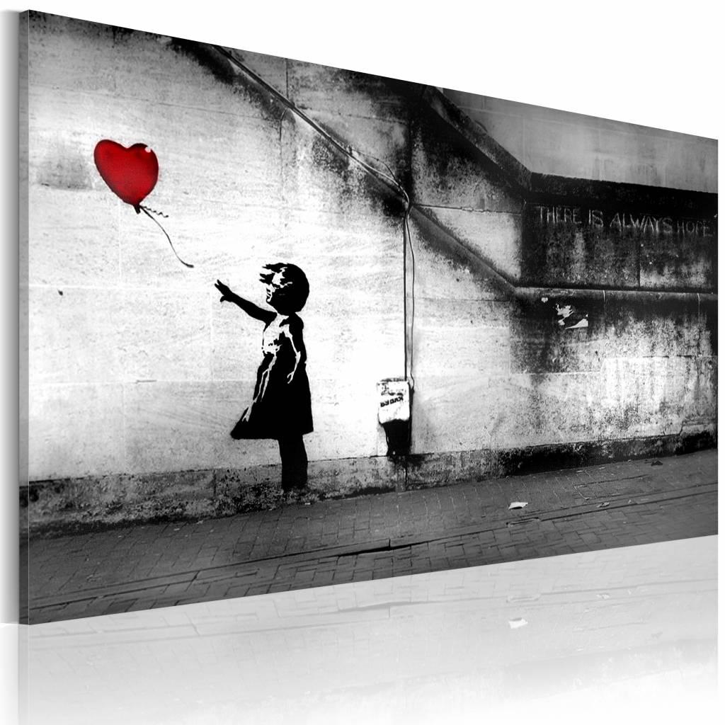 Schilderij - Banksy - Meisje met Ballon, Zwart-Wit 60x40cm , wanddecoratie , premium print op canvas