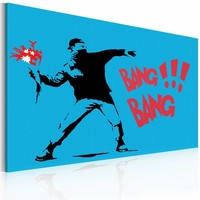 Schilderij - Bang bang!  Banksy, blauw/zwar/rood, 1deel, 2 maten