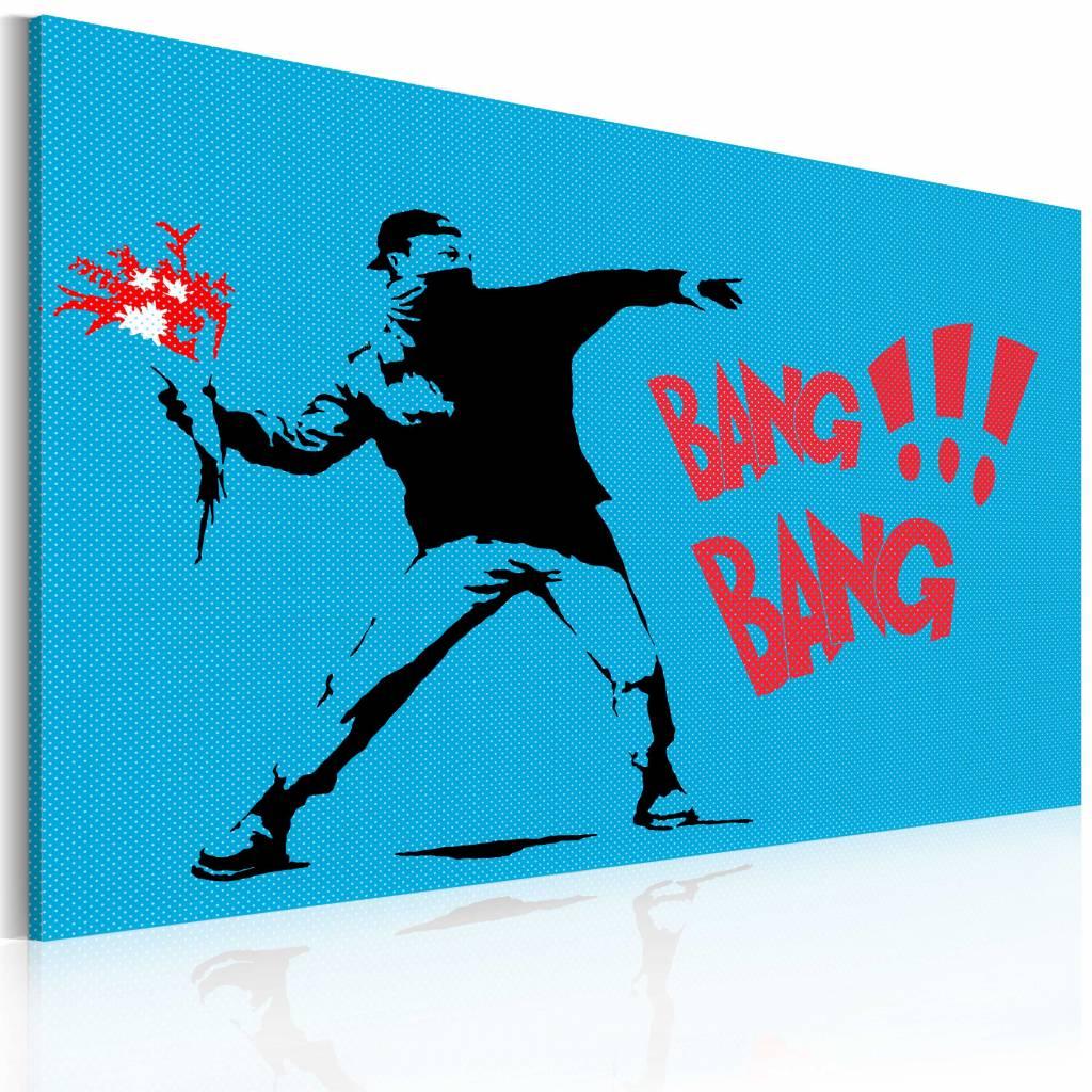 Schilderij - Banksy - Bang Bang!!!, Blauw