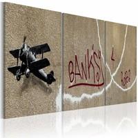 Schilderij - Banksy - Vliegtuig, 3luik , wanddecoratie , premium print op canvas