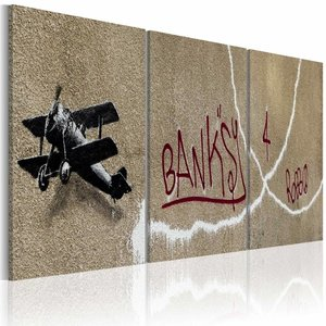 Schilderij - Banksy - Vliegtuig, 3luik