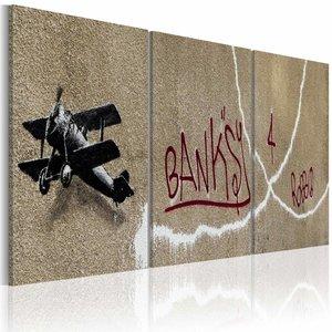 Schilderij - Banksy - Vliegtuig, Beige, 3luik