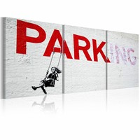 Schilderij - Banksy - Meisje op een schommel, Wit/Rood, 3luik , wanddecoratie , premium print op canvas