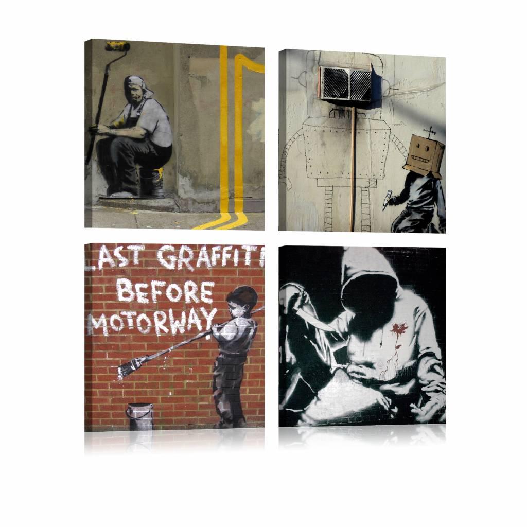Schilderij - Banksy - Street Art Collage, 4luik , multikleur , wanddecoratie , premium print op canv