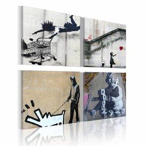 Schilderij - Banksy - Originele Ideeën, 4luik , wanddecoratie , premium print op canvas