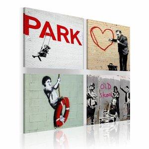Schilderij - Banksy - stedelijke inspiratie, 4 schilderijen, 2 maten