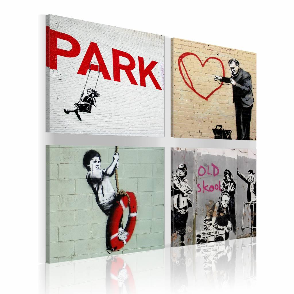 Schilderij - Banksy - Stedelijke Inspiratie, 4luik
