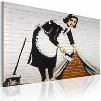 Schilderij - Banksy - Schoonmaakster, 60X40cm , zwart wit rood , wanddecoratie , premium print op canvas