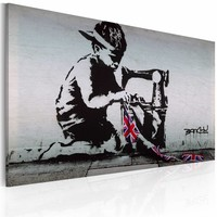 Schilderij - Banksy - Union Jack Kid, Zwart/Wit, 1luik, 40x60cm