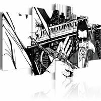 Canvas Schilderij - Jazzconcert op de achtergrond van wolkenkrabbers van New York - zwart/wit, 5luik, 2 maten