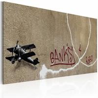 Schilderij - Banksy - Love Plane, 40x60cm , wanddecoratie , premium print op canvas