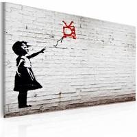 Schilderij - Banksy - Meisje met TV, Zwart-Wit, 40x60cm