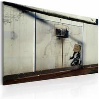 Schilderij - Banksy - Robots, 40x60cm , wanddecoratie , premium print op canvas