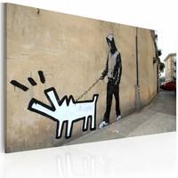 Schilderij - Banksy - Blaffende hond, 40x60cm , wanddecoratie , premium print op canvas