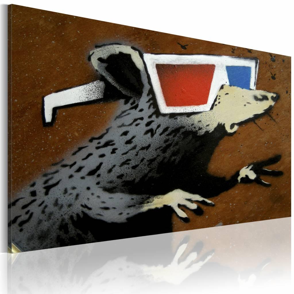 Schilderij - Banksy - Rat met 3D bril, Multi-gekleurd, 1luik, 40x60cm