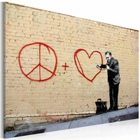 Schilderij - Banksy - Peace and Love Doctor, Beige, 1luik, 40x60cm