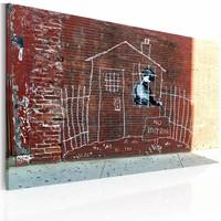 Schilderij - Banksy - Huisarrest, 40x60cm , wanddecoratie , premium print op canvas