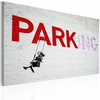 Schilderij - Parking (Banksy), wit/rood, 40x60cm , wanddecoratie , premium print op canvas
