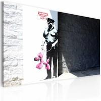 Schilderij - Banksy - Politie met roze hond, 40x60cm