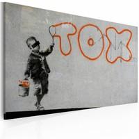 Schilderij - Wallpaper graffiti (Banksy), zwart/grijs/oranje, 60x40cm, 1 deel
