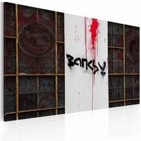 Canvas Schilderij - Bloed (Banksy) 60x40cm, zwart/wit/rood, 1deel