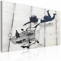Schilderij - Banksy - Winkelwagentje, Zwart-Wit 40x60cm , wanddecoratie , premium print op canvas
