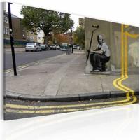 Schilderij - Banksy - Gele bloem, 40x60cm , wanddecoratie , premium print op canvas