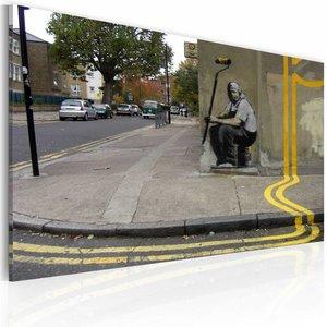 Schilderij - Banksy - Gele bloem, Multi-gekleurd, 1luik, 40x60cm
