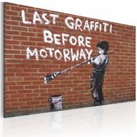 Schilderij - Banksy - Last Graffiti Before Motorway, 40x60cm , wit , bruin , wanddecoratie , premium print op canvas