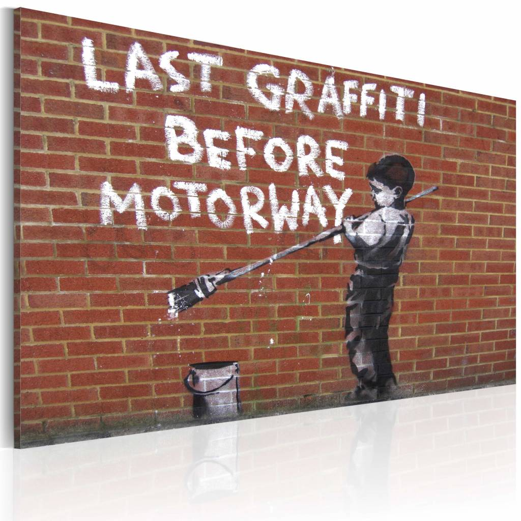 Schilderij - Banksy - Last Graffiti Before Motorway, 40x60cm , wit , bruin , wanddecoratie , premium