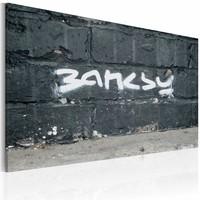 Schilderij - Banksy - Handtekening 40x60cm , wit grijs , wanddecoratie , premium print op canvas